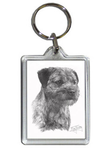 Mike Sibley Border Terrier Quality Acrylic Keyring 50mm x 35mm Dog Lover Gift