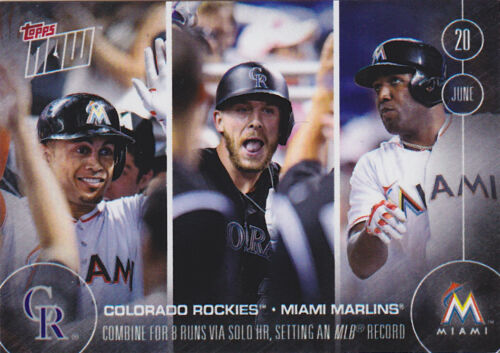 2016 Topps NOW 166 Trevor Story Rockies Giancarlo Stanton Marlins 8 Solo HR //323