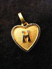 Pendentif Coeur Médaillon en Or Plaqué Lettre H 1,5 cm