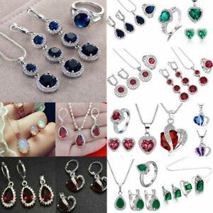 DIY-Women-Chic-Gemstone-Topaz-Pendant-Necklace-Rings-Earrings-Jewelry-Set-Gifts