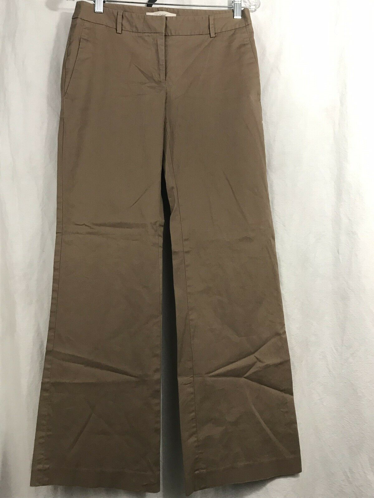 Ann Taylor LOFT Trouser Pants Womens Size 2 Tan Flat Front Dress Pants NWOT