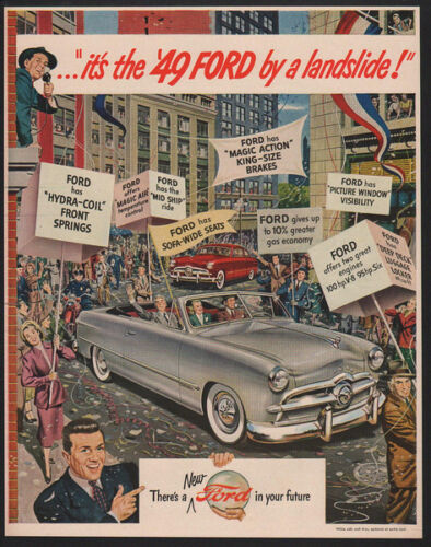 New York Ticket Tape Parade VINTAGE AD 1949 FORD Custom Convertible Silver Car