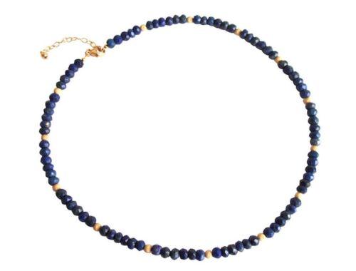 Facettiert Blau Damen Lapis Lazuli Halskette 45 cm Gemshine