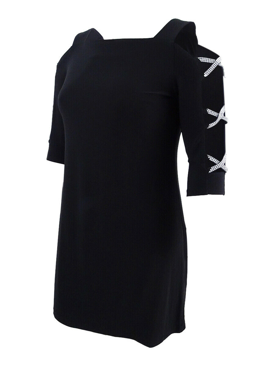 MSK Woherren Petite Cold-Shoulder Lace-Up Top (PL, schwarz)
