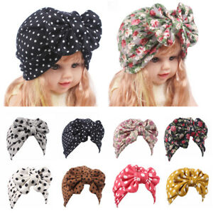 b5538145f Details about 1PC Baby Girls Turban Hat Cap with Big Bow Hairband Head Wrap  Hospital Hat