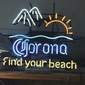 "New Corona Sun Mountain Find Your Beach Neon Sign 32""x24 ..."