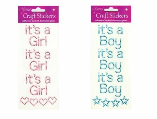 Self Adhesive 15mm Pink//Blue /'It/'s A Girl Or It/'s A Boy/' Stick On Stickers