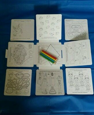 4 Wedding Favour Activity Pack.Childrens,Kids,party bag filler,box,puzzles,crayo