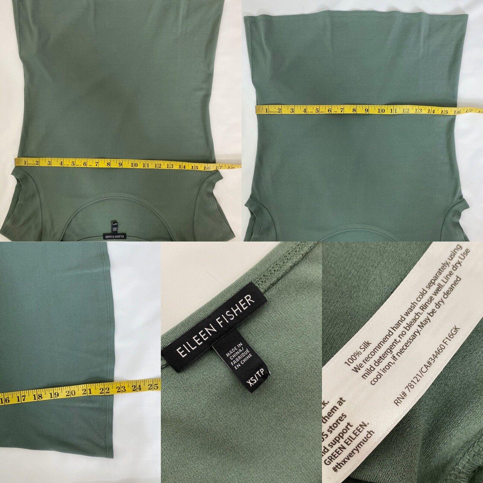 Eileen Fisher Silk Top XS Green Short Sleeve Shirt - image 6