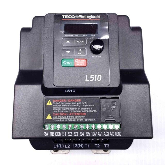 230V. 3 Ph Out 3 Ph Input L510-202-H3-U 2HP Teco Variable Frequency Drive