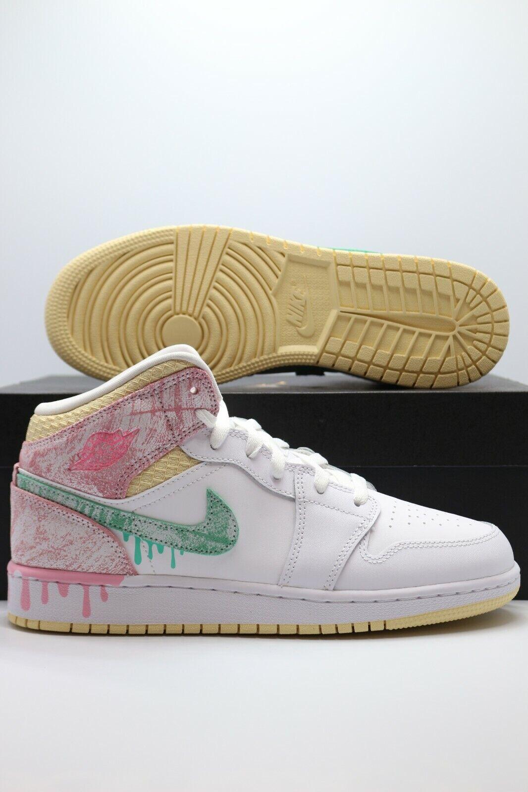 Nike Air Jordan 1 Mid GS Paint Drip Ice Cream White Pink DD1666-100 Size 3.5-7Y