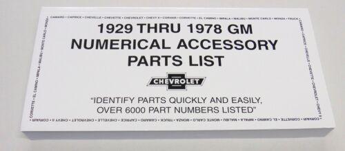 1929-1978 Chevy Chevrolet GM Original Accessory NOS Part Number Manual