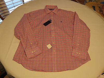 Ralph Lauren Mens XL pink multi classics 540001 cotton plaid button up Shirt NEW