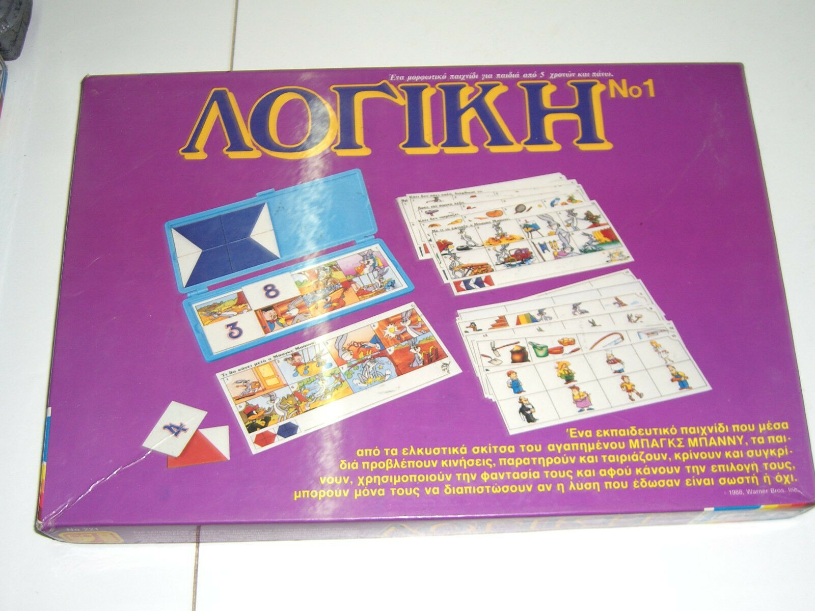 VINTAGE 80's Greek Board Game LOGIC LOONEY TUNES RARE BY MIKA  221