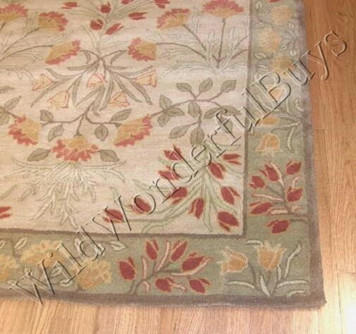 Pottery Barn Green Rug: Pottery Barn Adeline Rug Multi Green 2.5x9 Floral Leaves