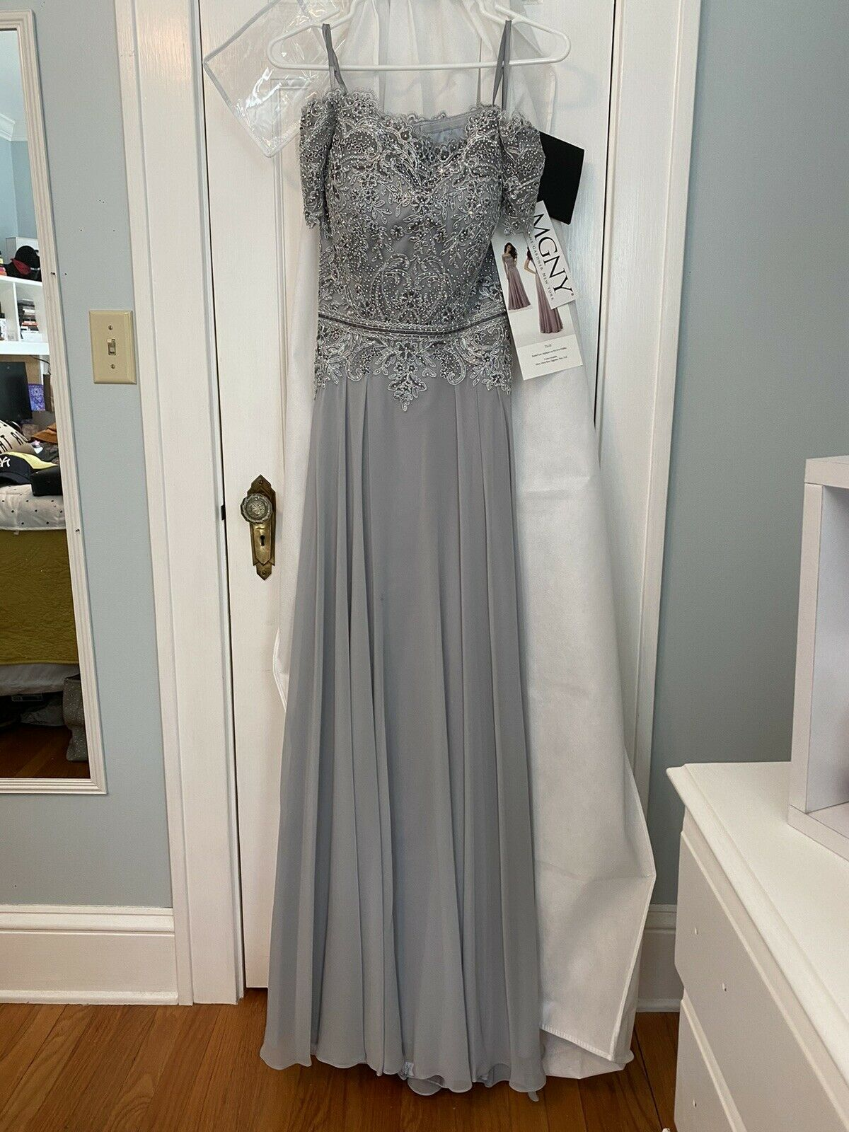 MGNY Chiffon Beaded Evening Gown in Silver Size 4