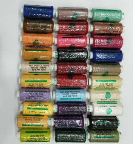 30 x Assorted 100/% Polyester 400yd  Sewing Thread Spools High Quality