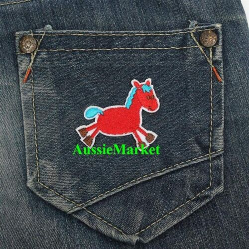 2 x patch patches horse pony boys girls jeans shirt clothes iron sew on cotton