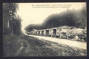 cpa-COMPIEGNE-GUERRE-de-1914-WW1-Ravitaillement-des-Troupes-AUTOBUS-PARISIENS