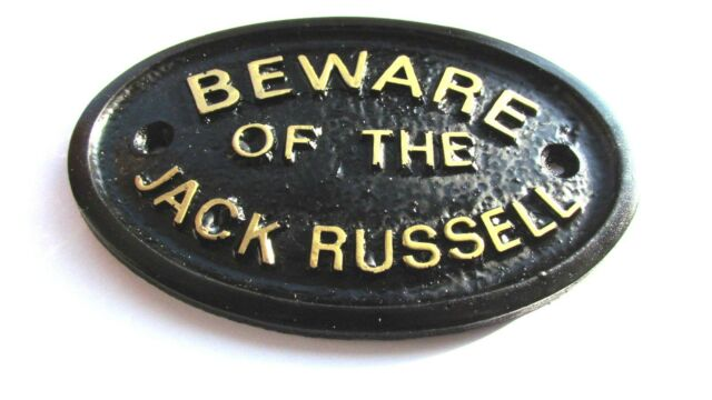BEWARE OF THE DOG HOUSE//GATE SIGN WALL SIGN IN BLACK WITH GOLD RAISED LETTERS