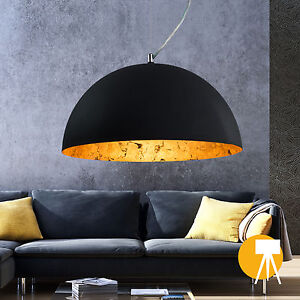 h nge lampe studio pendel leuchte rund schwarz gold h nge leuchte industrie ebay. Black Bedroom Furniture Sets. Home Design Ideas