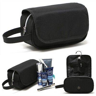 Mens Black Toiletry Hanging Hook Wash Shower Wash Bag Organizer Kit Case #133