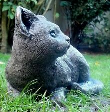 """Stone Cat Kitten Garden / Home  Ornament  Muted Grey special gift """"PERCY SLEGE"""""""