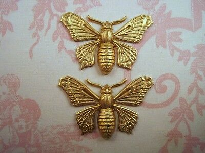 Raw Brass Butterfly Stampings (2) - FFA8993 Jewelry Finding