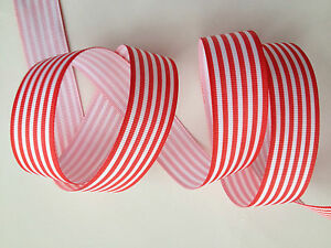3-5-Meters-Grosgrain-Ribbon-1-034-25mm-Strip-Red-white-craft-Clips-party