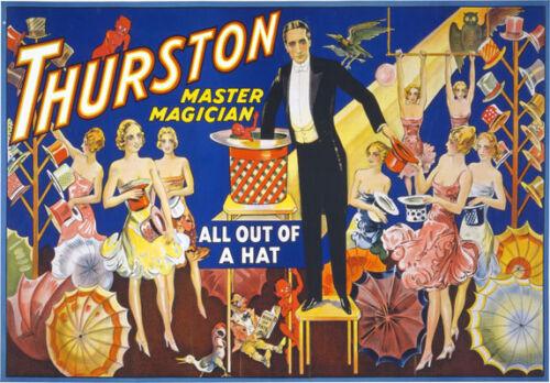 M2 Vintage Usa magia de los Sombrero Master Magician Poster volver a imprimir A4