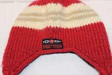 Marmot Kids Winter Hat - Crimson Red / Tan Striped - Wool Blend - EUC