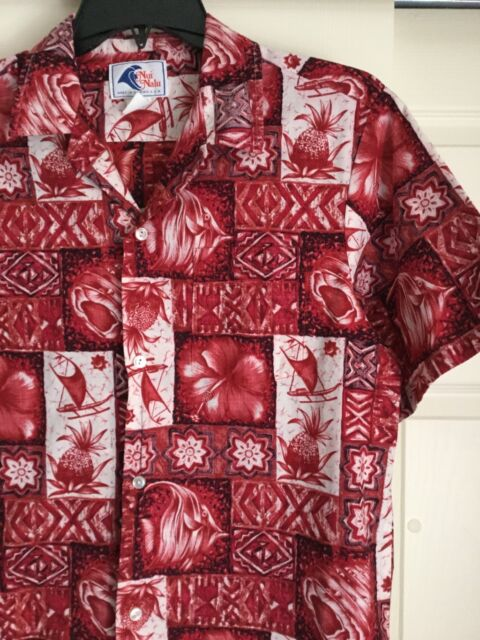 VNTG Hawaiian Shirt Reverse Print Red Tapa Large L Nui Nalu Nice Condition