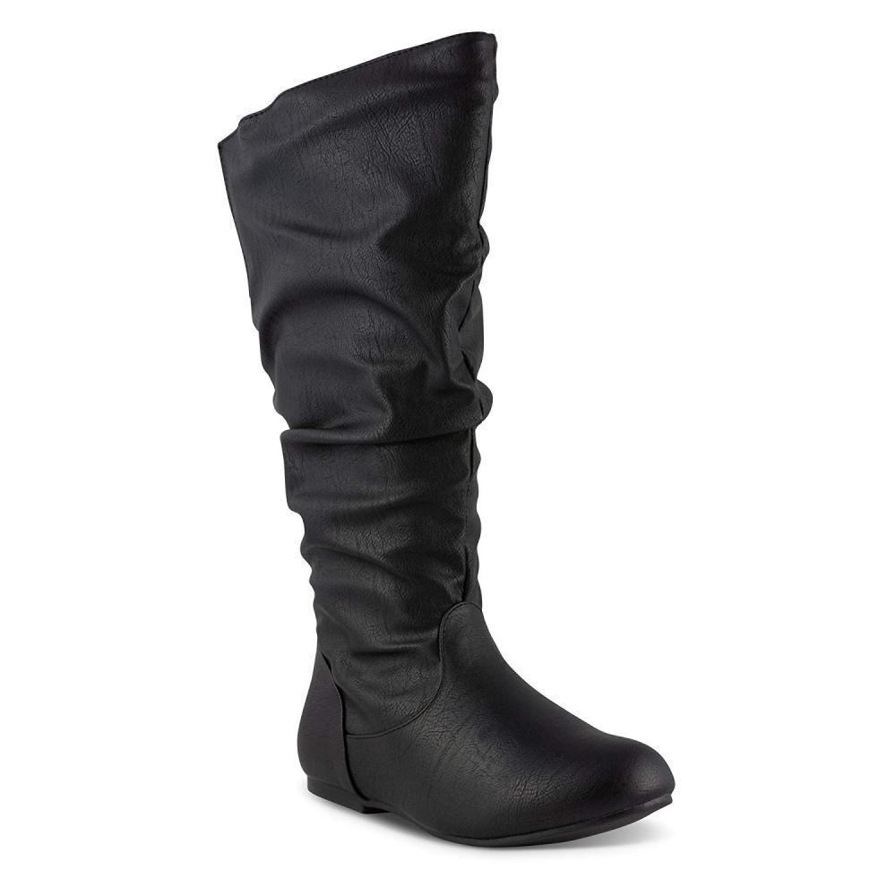 Twisted Women's SHELLY Wide Width Wide Calf Faux Leather Knee-High Scrunch...