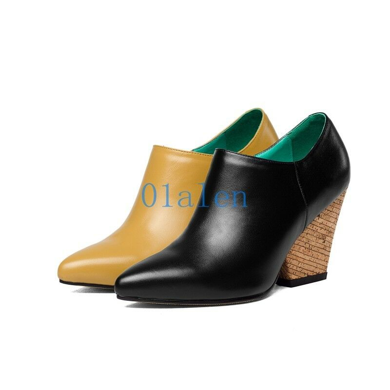 Women Low Top High Block Heel Candy Sweet Poiny Toe Leather Slip On Loafers Shoe