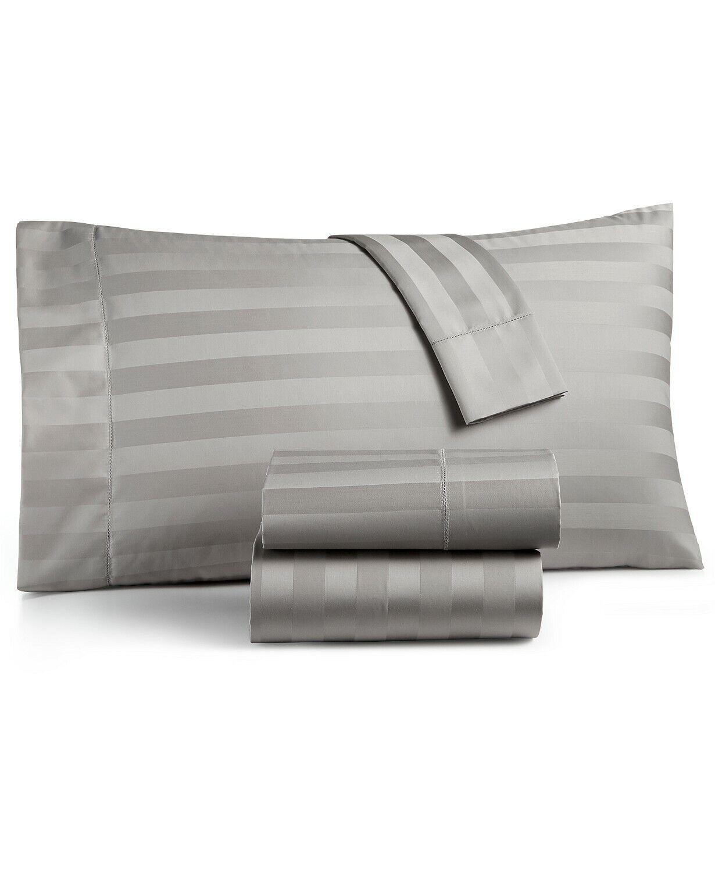 Charter Club Queen Fitted Sheet & Pillowcase Set Damask Stripe 550 TC E93044