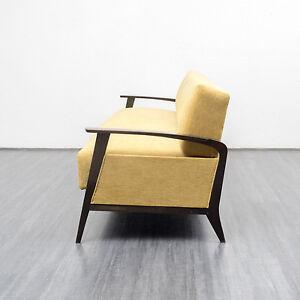elegante 50er jahre couch mit klappfunktion neu gepolstert u bezogen ebay. Black Bedroom Furniture Sets. Home Design Ideas