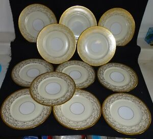 Image is loading Selb-Bavaria-Set-of-12-Dinner-Plates-Intricate- & Selb Bavaria Set of 12 Dinner Plates - Intricate Gold w/Ivory ...