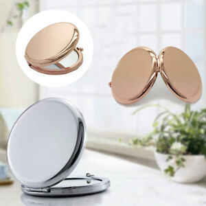 BL_ Mini Compact Mirror Double-Side Pop-Up Pocket Makeup Mirror Metal Round Case