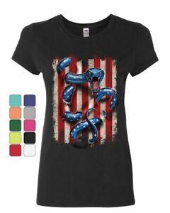 American Serpent Women/'s T-Shirt Don/'t Tread on Me Gadsden Flag Shirt