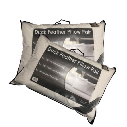 Luxury 100/% DUCK FEATHER PILLOW Pair Soft Extra Filling Pillow Bedroom Comfort