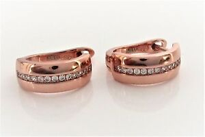 Creolen-925-Sterling-Silber-Rose-Gold-vergoldet-Zirkonia-Ohrringe-6x15mm-Damen