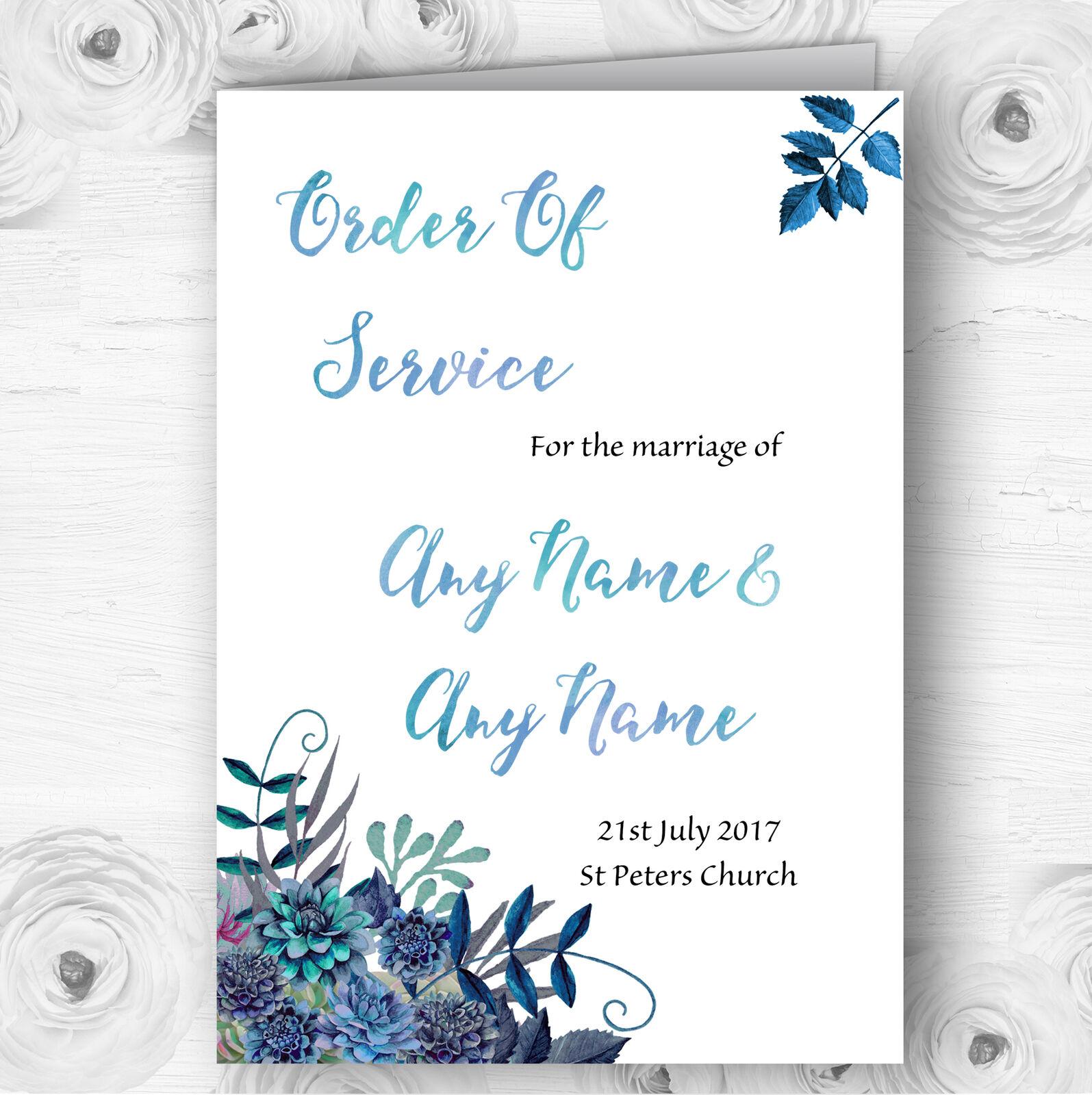 Aqua Grün & Blau Watercolour Florals Wedding Double Cover Order Of Service