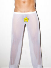 White Men Sheer Underwear Mesh Pants Soft Homewear Pyjama Bottom Underpants XL