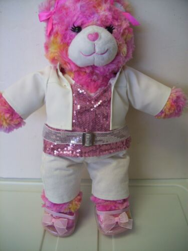 "BUILD A BEAR Plush BEIGE BEAR WEARING pink Elvis style outfit 17"" ONE OF A KIND"