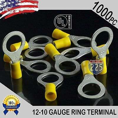 12-10 GAUGE YELLOW RING TERMINALS ELECTRICAL WIRE CONNECTORS #8 200 PACK