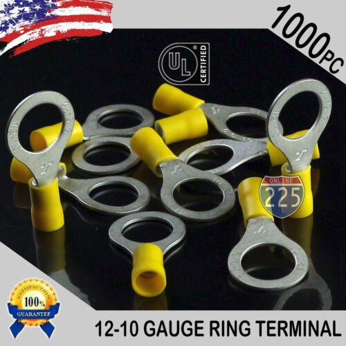 """1000 PACK Yellow 12-10 Gauge 1//2/"""" IN Stud Insulated Vinyl Copper Ring Terminals"""