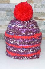 Haube Mütze Mädchen Bommelmütze 1 bis 3 Jahre rot lila Strick Handarbeit (1512D)