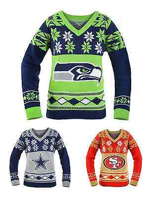 NFL Football Team Logo WOMENS Ugly V-NECK Sweater - Pick Your Team!