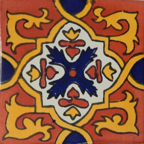 C310  25 TILES Ceramic MEXICAN Talavera Handmade Tile 4x4 Clay Mexico Pottery