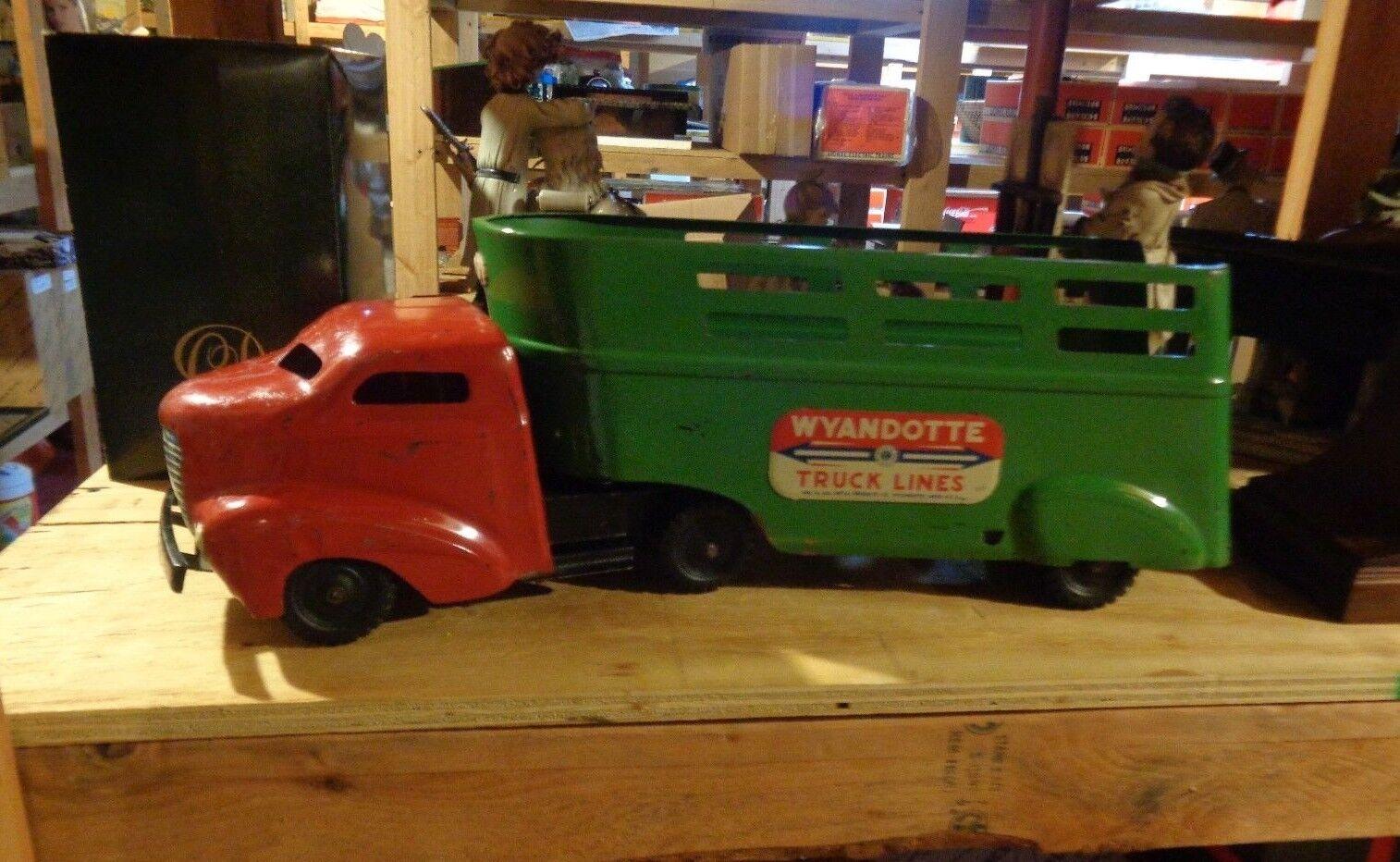 Gran Vintage Década de 1940 Wyandotte camión líneas de acero prensado Semi Remolque 24  de largo